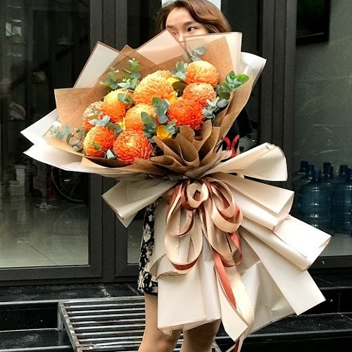 Bó Hoa Cúc Mẫu Đơn Đẹp Kiểu Bó Khổng Lồ Siêu Ấn Tượng