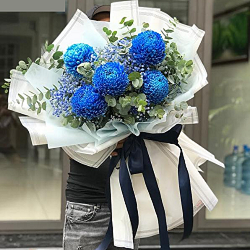 bó hoa cúc mẫu đơn xanh
