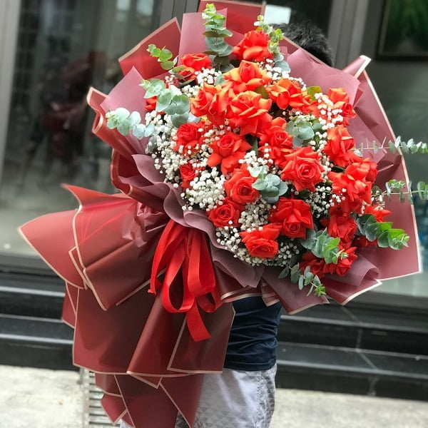 bó hoa hồng đỏ đẹp