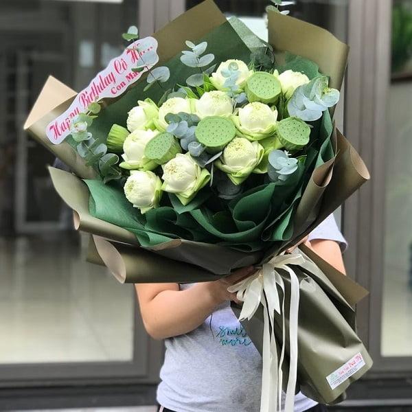 hoa sen trắng bó đẹp