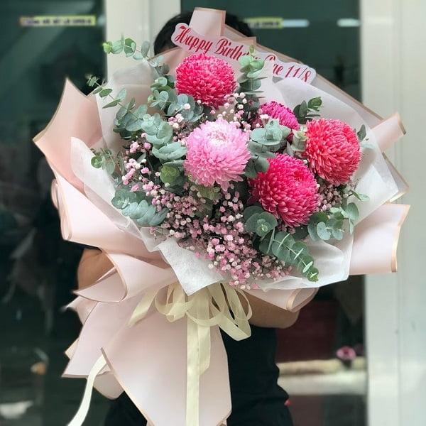 bó hoa cúc mẫu đơn đẹp giá rẻ