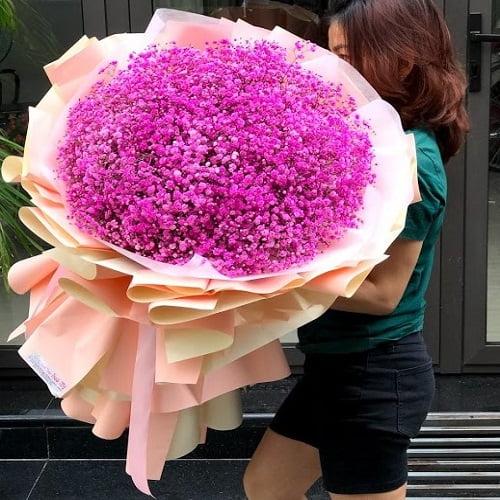 bó hoa baby hồng đậm