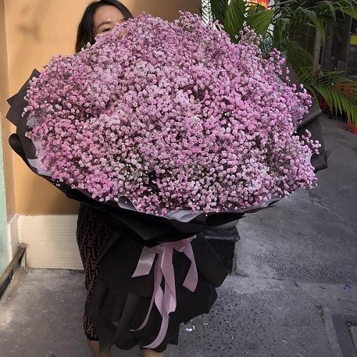 bó hoa baby hồng khổng lồ