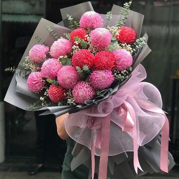 bó hoa cúc mẫu đơn đẹp màu hồng