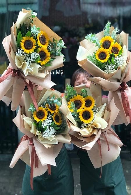 bó hoa hướng dương 3 bông
