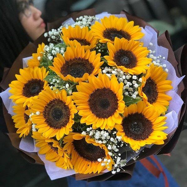 Bó hoa hướng dương bó tròn