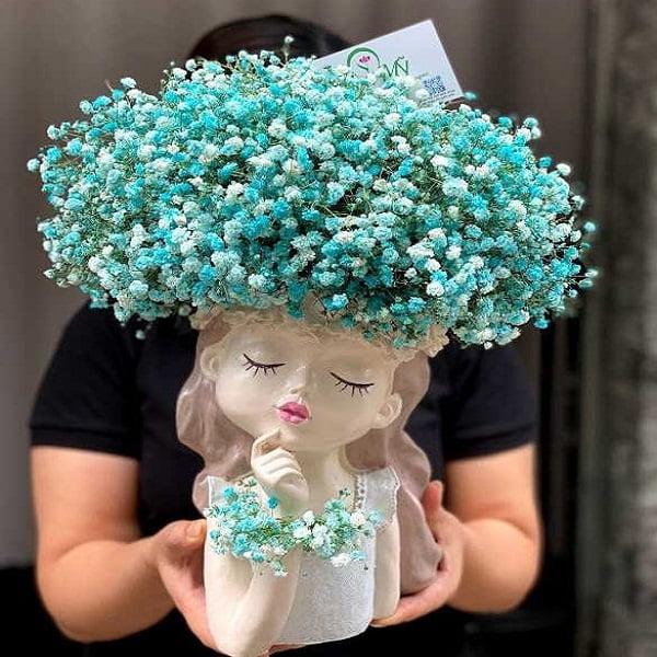 giỏ hoa baby xanh